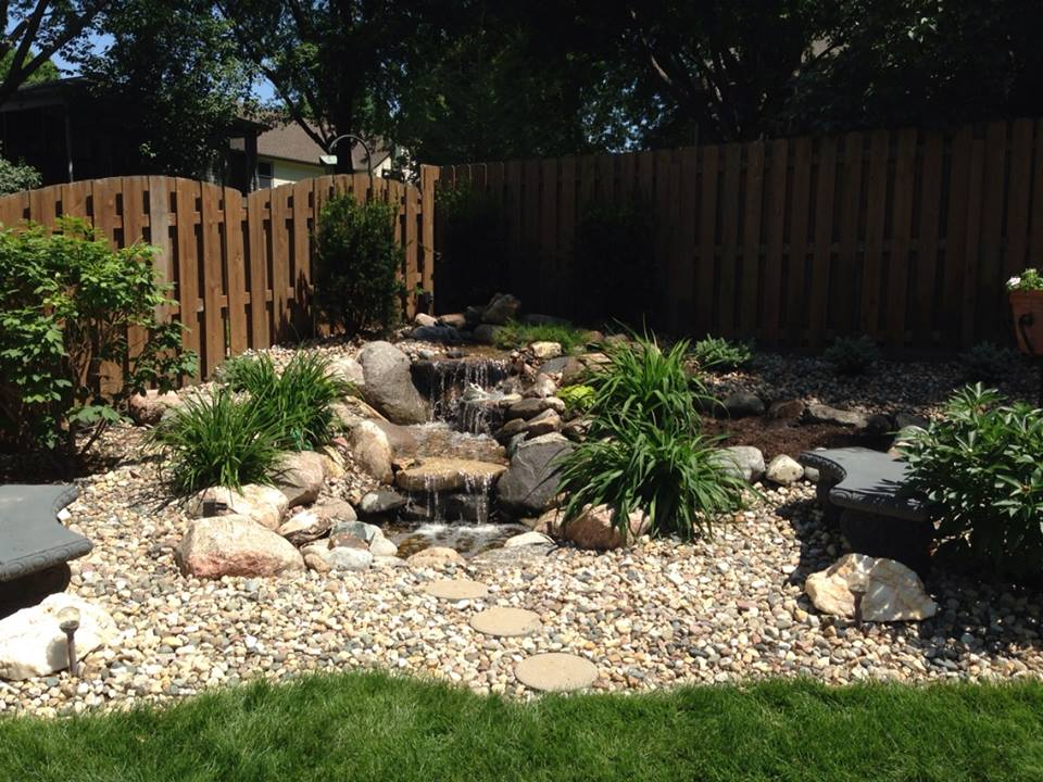 Back Yard Landscaping with Water Feature