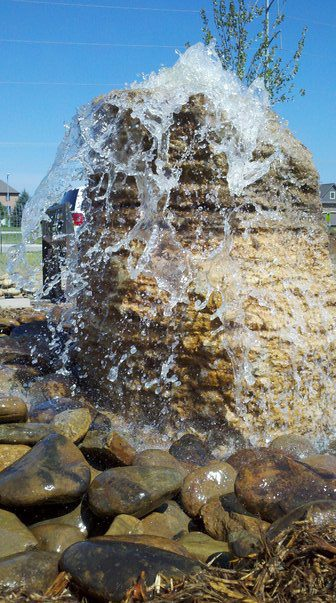 Water Splash from Stone Designed and Installed by Patera Landscaping