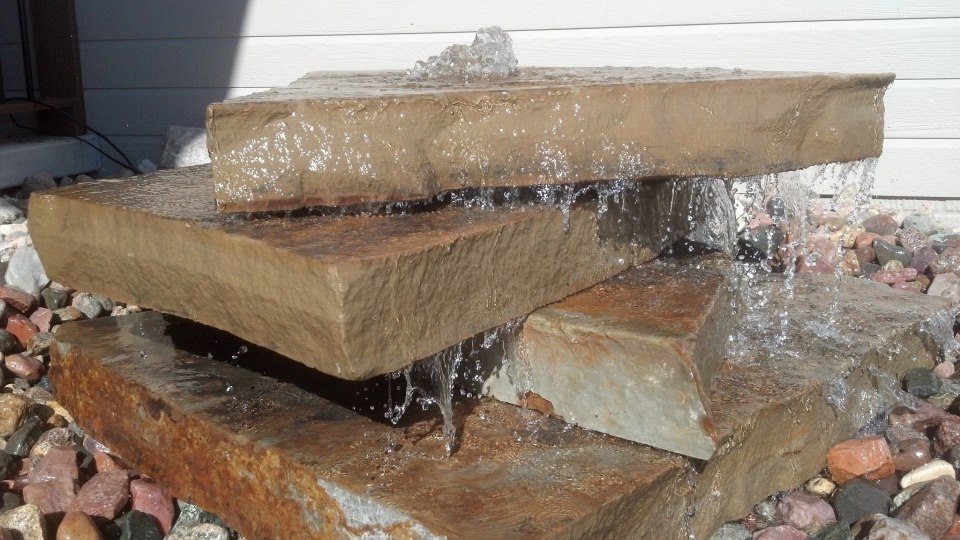 Stone Slab Water Feature for Yard