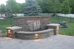Water Feature with Back Yard View - Patera Landscaping